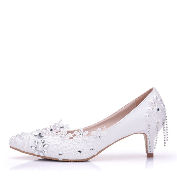 Vrouwen Kunstleer Low Heel Closed Toe Pumps met Stitching Lace Kristal