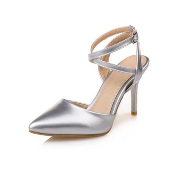 Frauen Kunstleder Stöckel Absatz Geschlossene Zehe Absatzschuhe Sandalen mit Schnalle