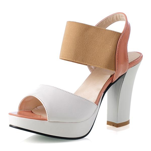 Naisten Mokkanahka Chunky heel Sandaalit Avokkaat Platform Peep toe jossa Split yhteinen kengät