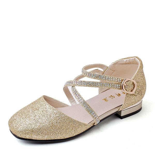 Girl's Closed Toe Ballet Flat Microfiber Leather Flat Heel Flats Flower Girl Shoes With Buckle Sparkling Glitter