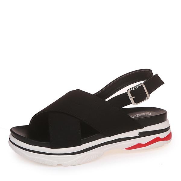 Donna Similpelle Zeppe Sandalo Punta aperta Con cinturino con Fibbia scarpe