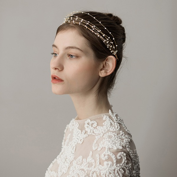 Ladies Unique Alloy Headbands With Venetian Pearl (Sold in single piece)