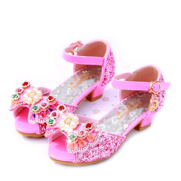 Girl's Peep Toe Leatherette Sparkling Glitter Low Heel Sandals Flower Girl Shoes With Bowknot