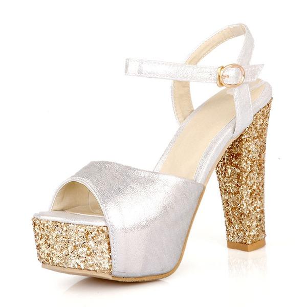 Naisten PU Chunky heel Sandaalit Avokkaat Platform jossa Solki kengät