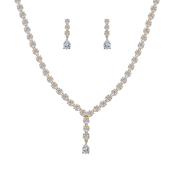 Ladies' Simple Copper/Cubic Zirconia Jewelry Sets For Bride