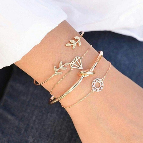 Leaves Shaped Alloy Women's Fashion Bracelets (Set of 4)