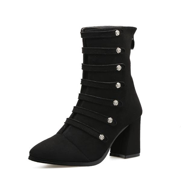 Kvinnor Mocka Tjockt Häl Stövlar Boots med Nita Zipper skor