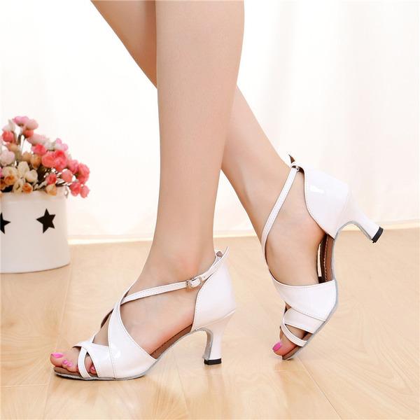 Dámské Koženka Na podpatku Sandály Latinské S Na přezku Hollow-out Taneční boty
