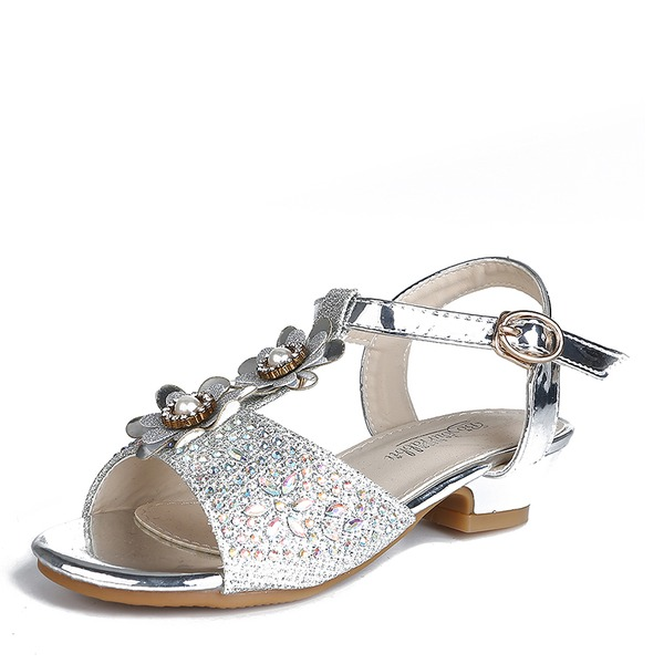 Girl's Peep Toe Slingback Leatherette Flower Girl Shoes With Buckle