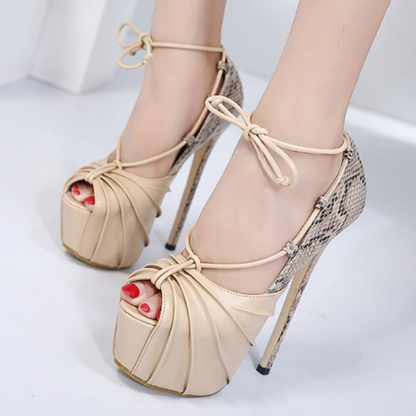 Women's PU Stiletto Heel Pumps Platform Peep Toe With Lace-up shoes