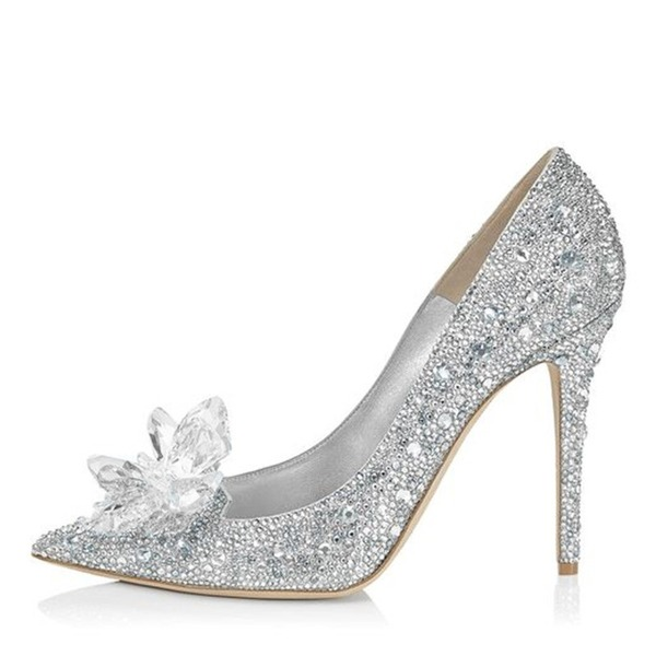 Vrouwen Kunstleer Stiletto Heel Closed Toe Pumps met Strass Kristal