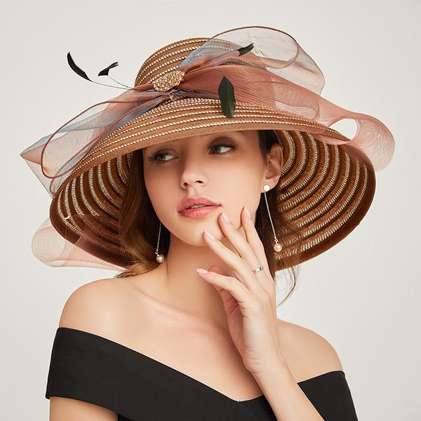 Bayanlar Glamourous/Klasik Papirüs Ile İlmek Plaj / Güneş Şapkaları/Kentucky Derby Şapkaları/Çay Partisi Şapkaları