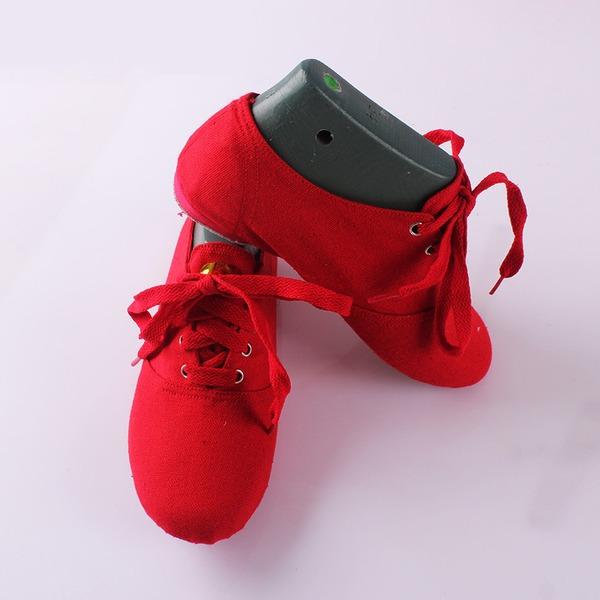 Mulheres Lona Sem salto Balé Jazz Sapatos de dança