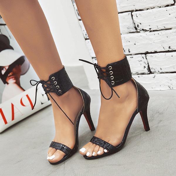 Naisten Keinonahasta Piikkikorko Sandaalit Avokkaat Peep toe Mary Jane jossa Nauhakenkä kengät
