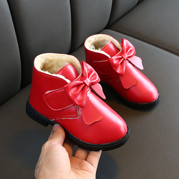Jentas Round Toe Lukket Tå Leather flat Heel Støvler Flower Girl Shoes med Bowknot