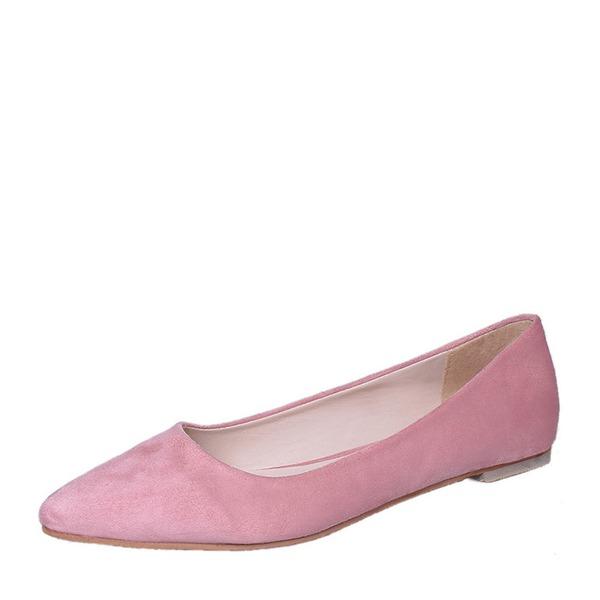 Donna Camoscio Senza tacco Ballerine Punta chiusa scarpe