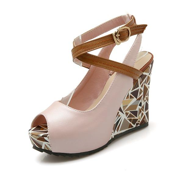 Женщины кожа Вид каблука Сандалии Танкетка Открытый мыс обувь