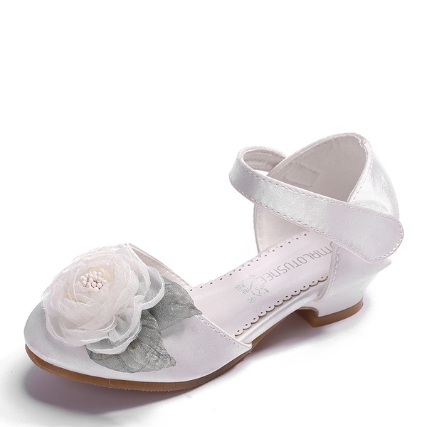 Jentas Round Toe Lukket Tå Leather Flate sko med Velcro