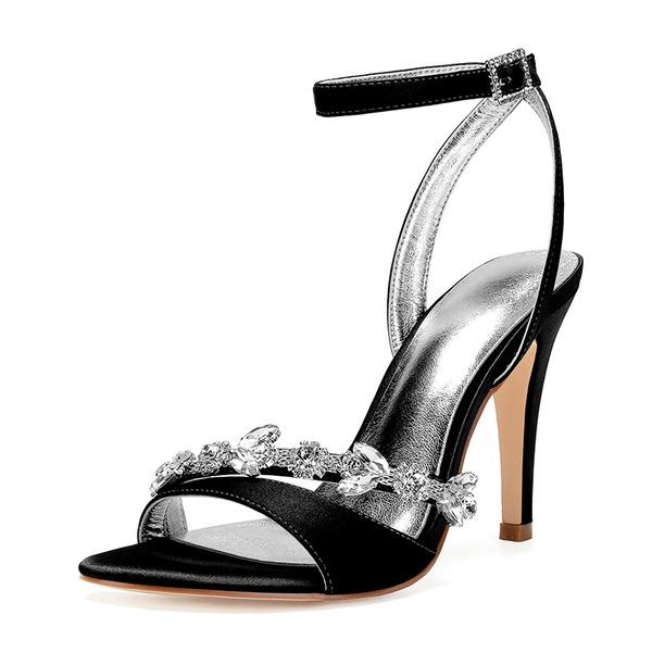 Женщины шелка как атласное Высокий тонкий каблук Открытый мыс На каблуках Сандалии с горный хрусталь
