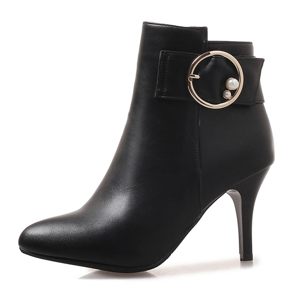 Frauen Kunstleder Stöckel Absatz Absatzschuhe Geschlossene Zehe Stiefel Stiefelette Stiefel-Wadenlang mit Schnalle Reißverschluss Schuhe