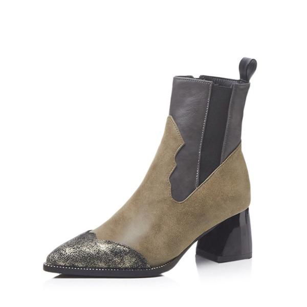 Kadın Suni deri Kalın Topuk Bot Ayak bileği Boots Ile Yivli Conta ayakkabı