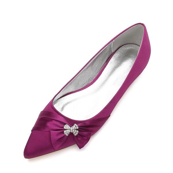 Vrouwen zijde als satijn Flat Heel Closed Toe Flats met strik Gesp