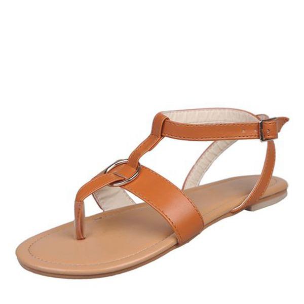 Kvinner Lær Flat Hæl Sandaler Flate sko Titte Tå Slingbacks med Spenne sko