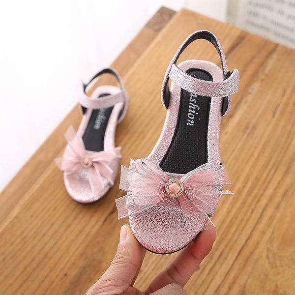 Girl's Peep Toe Slingback imitatieleer Flat Heel Sandalen Flats met strik Velcro