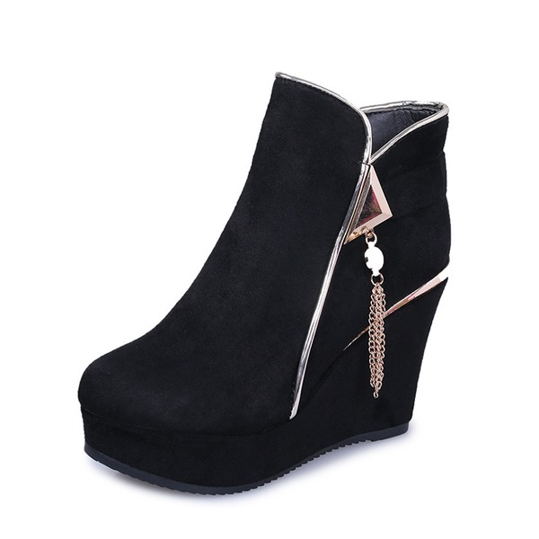 Women's Suede Wedge Heel Pumps Platform Closed Toe Wedges Boots Ankle Boots With Zipper Tassel shoes