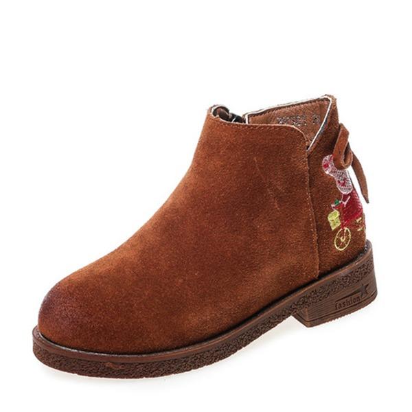 Jentas Round Toe Lukket Tå Suede flat Heel Flate sko Støvler Flower Girl Shoes med Glidelås