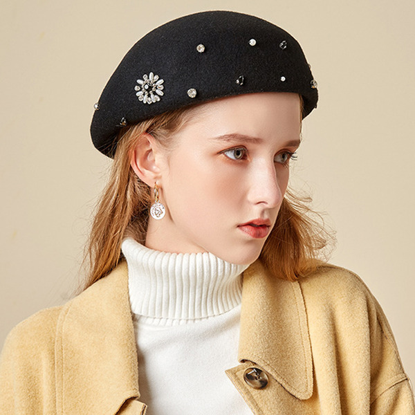Ladies' Glamourous/Charming/Romantic Wool With Imitation Pearls Beret Hats