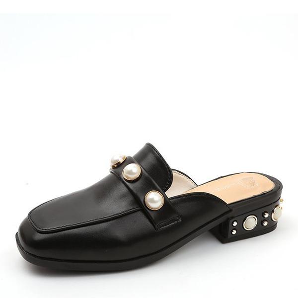 De mujer Cuero Tacón bajo Planos Cerrados Solo correa Pantuflas con Perlas de imitación zapatos