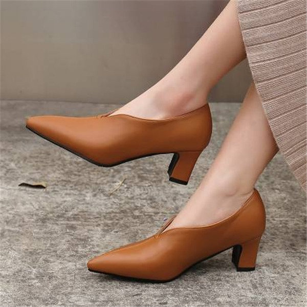 Women's Microfiber Leather Chunky Heel Pumps With Others shoes
