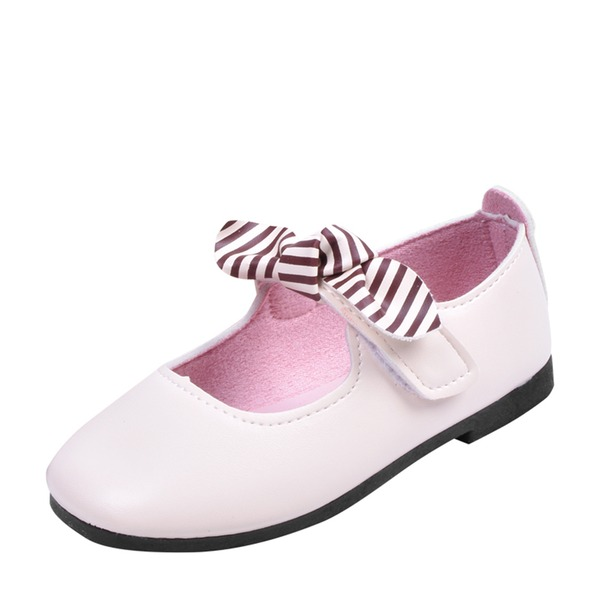 Jentas Round Toe Lukket Tå Leather Flate sko Flower Girl Shoes med Velcro