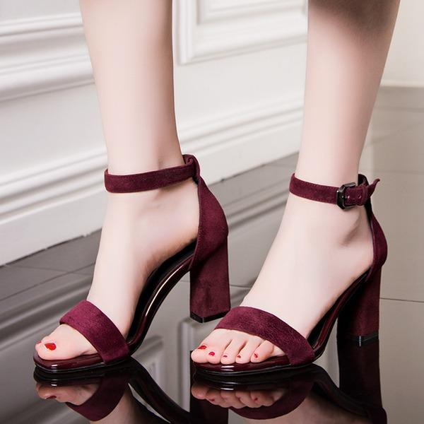 Frauen Veloursleder Stämmiger Absatz Sandalen Absatzschuhe Schuhe