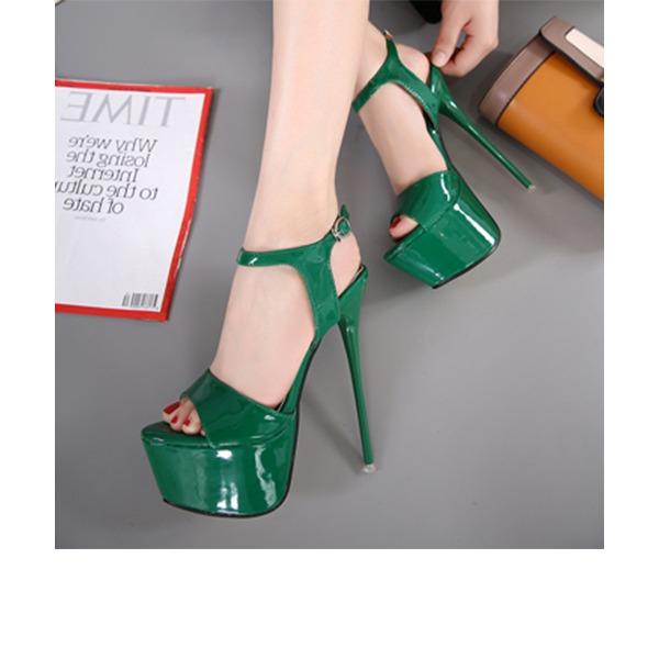 Mulheres Couro Brilhante Salto agulha Sandálias Bombas Plataforma Peep toe Sapatos abertos com Fivela sapatos