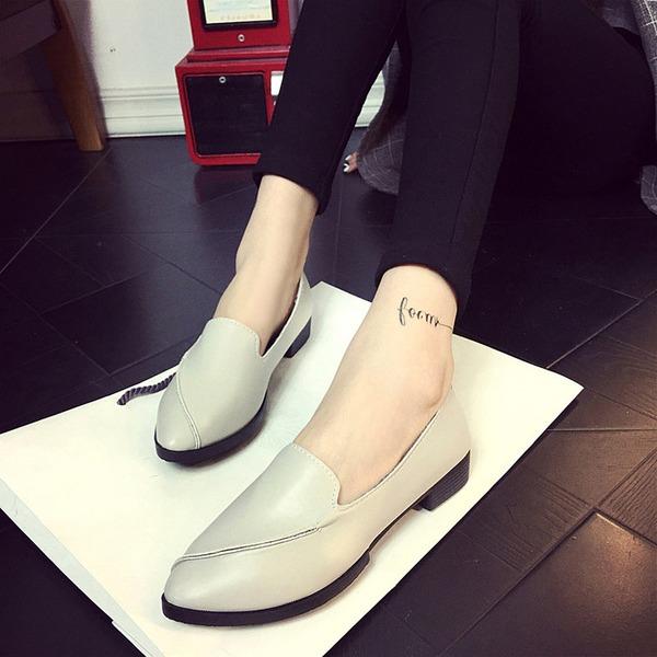 Femmes PU Talon bas Chaussures plates Bout fermé chaussures
