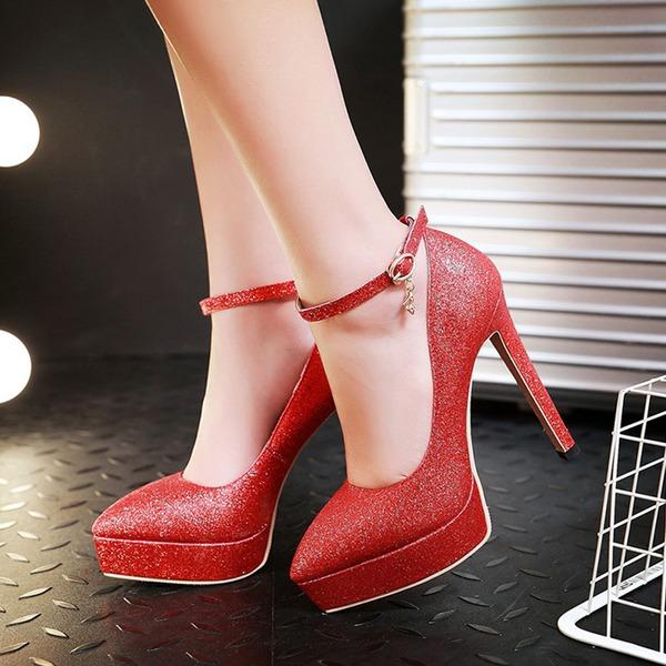 Naisten Keinonahasta Piikkikorko Avokkaat Platform jossa Solki kengät