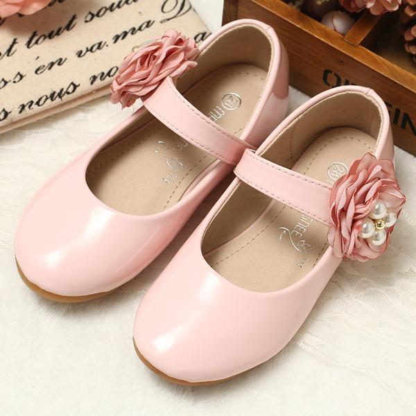Mädchens Round Toe Leder Flache Ferse Flache Schuhe Blumenmädchen Schuhe mit Satin Schleife