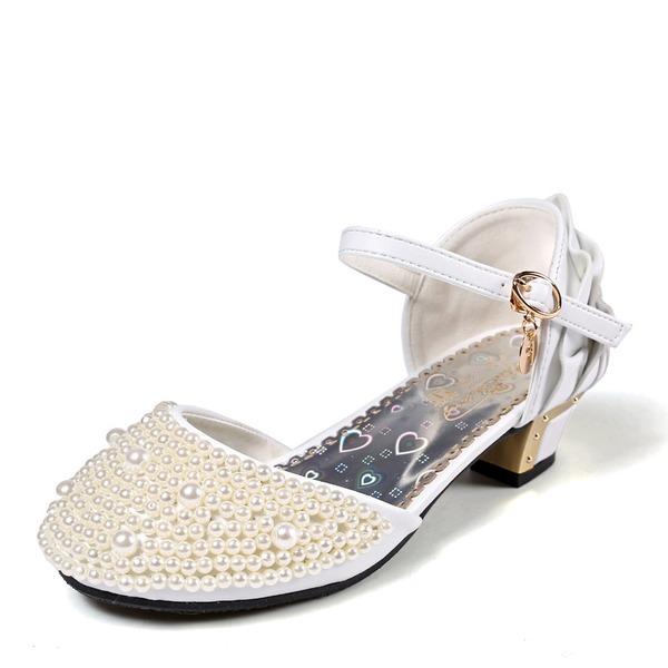 Fille de Bout fermé similicuir Low Heel Escarpins Chaussures de fille de fleur avec Boucle Perle d'imitation Plissé