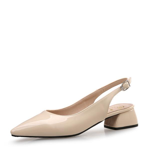 Frauen Kunstleder Flascher Absatz Sandalen Flache Schuhe Geschlossene Zehe mit Schnalle Schuhe