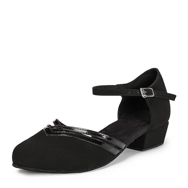 De mujer Piel brillante Ante Planos Sala de Baile con Tira de tobillo Zapatos de danza