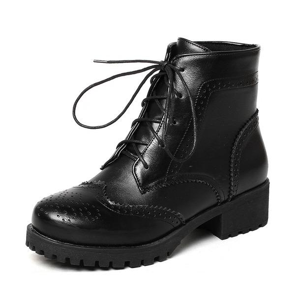 Femmes PU Talon bas Bottes Bottes mi-mollets Martin bottes avec Dentelle chaussures