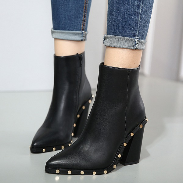 Women's PU Chunky Heel Pumps Boots With Rivet Zipper shoes