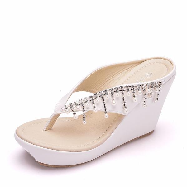 Kadın PU Dolgu Topuk Sandalet Takozlar ayakkabı