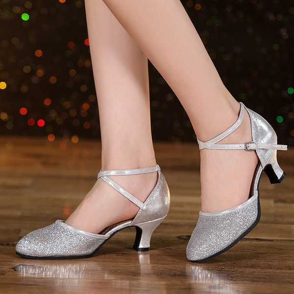 Kadın Suni deri Köpüklü Glitter Topuk Sandalet Balo Swing Dans Ayakkabıları