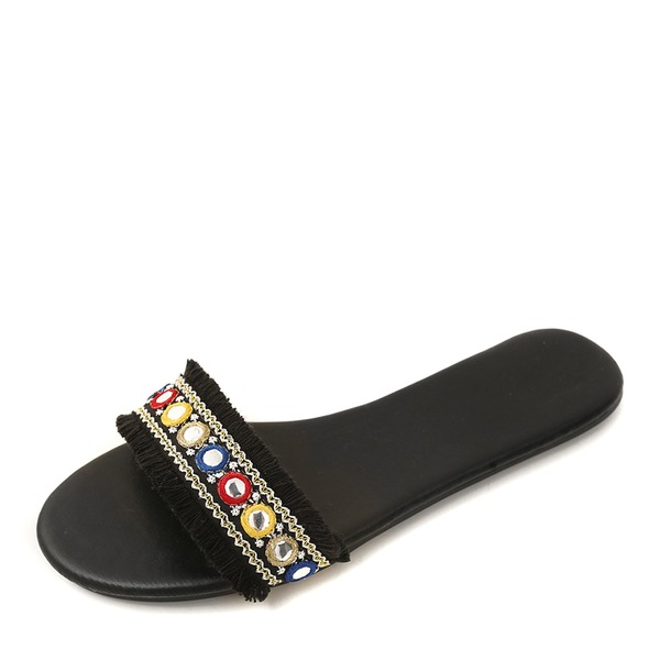 Women's Real Leather Fabric Flat Heel Flats Slippers With Rivet shoes