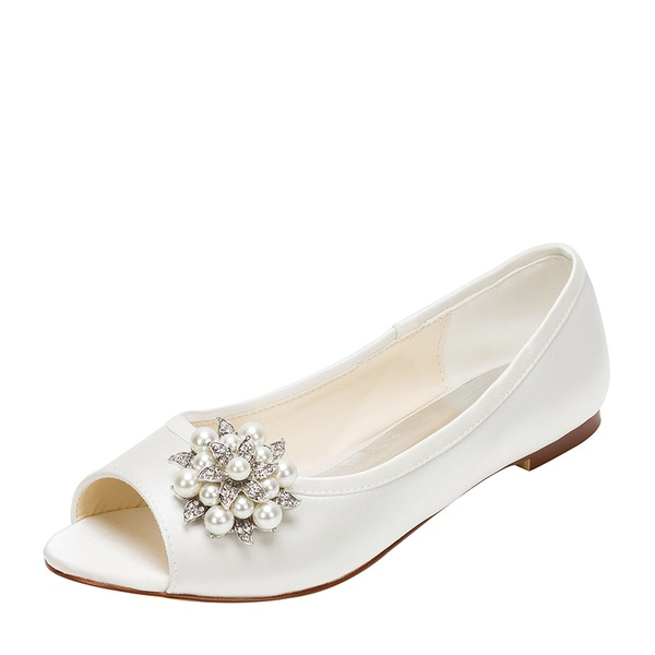 Women's Silk Like Satin Flat Heel Flats Peep Toe With Imitation Pearl Rhinestone