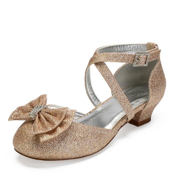 Fille de bout rond Bout fermé Mary Jane Glitter mousseux talon Chunky Chaussures de fille de fleur avec Bowknot Strass Pailletes scintillantes