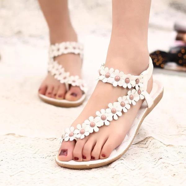 Women's Leatherette Flat Heel Sandals Peep Toe Slingbacks With Beading Flower Elastic Band shoes